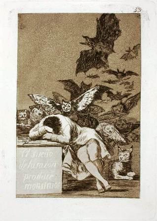 Francisco de Goya, El sueño de la razon produce monstruos aguafuerte y aguatinta, 1797-99