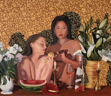 Regina and Leah with still life (2019) Therese Mulgrew, Freight volume