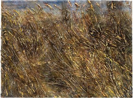 Anselm Kiefer (Fur walther von der vogelweide da unser zweier bette was da muget ir vinden gebrochen bluomen, 2020, Emulsion oil paint acrylic shellac charcoal straw and gold leaf on canvas)