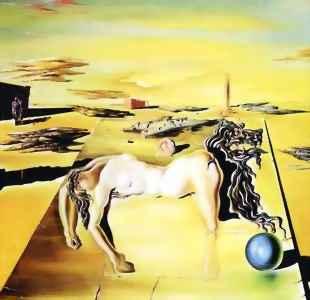 Salvador Dali, Mujer invisible durmiendo - caballo león, 1930
