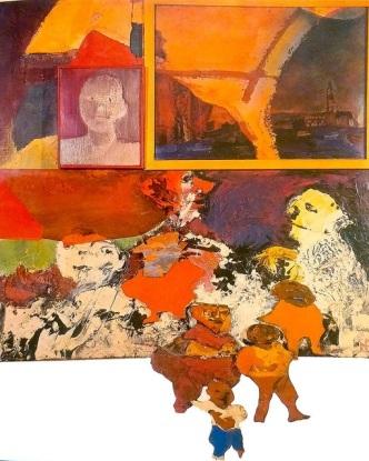 Luis Felipe Noe - MNBA - Festival de Newport 1964 - Oleo y esmalte sobre tela y madera (1964)